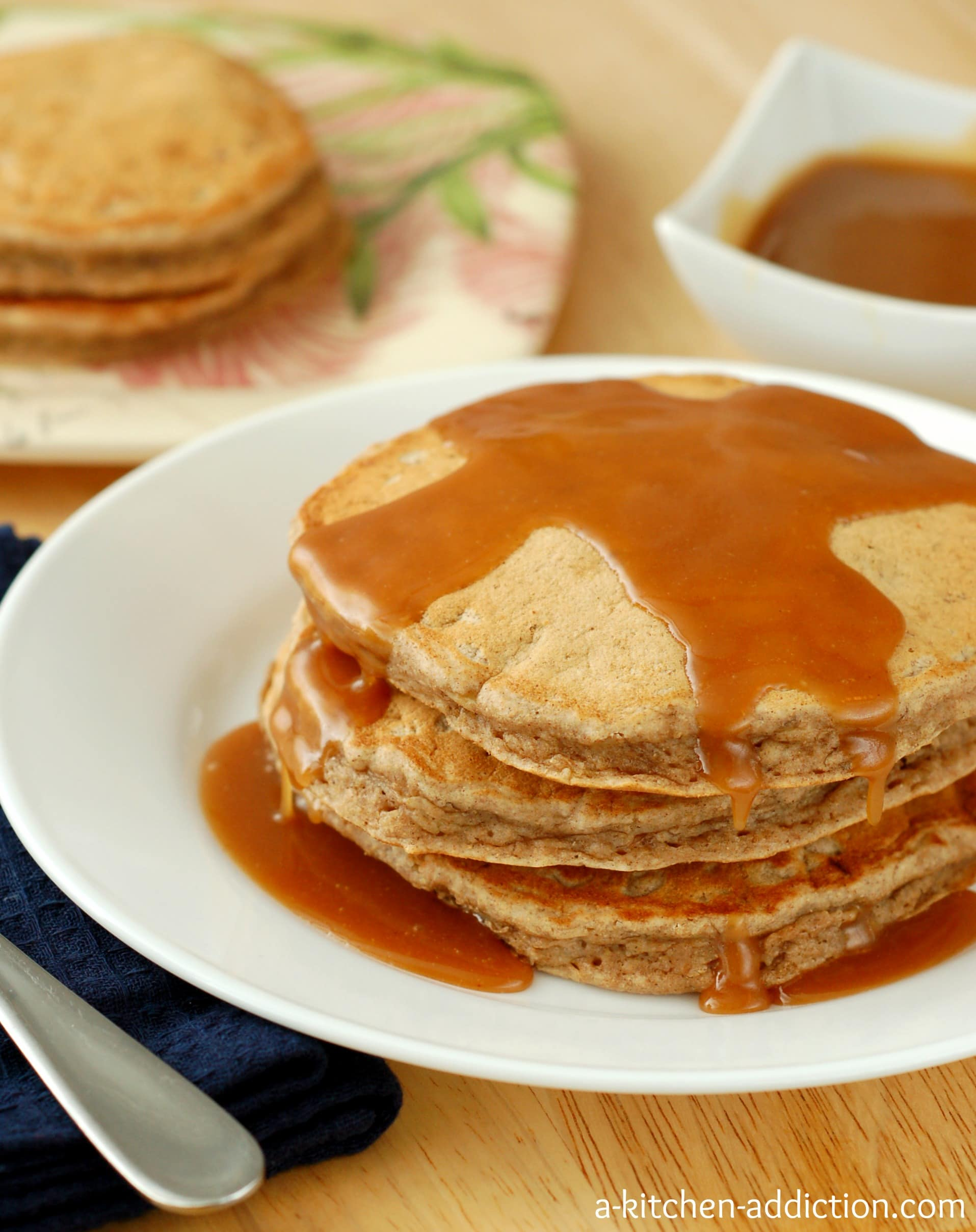 Banana bread pancakes with peanut butter syrup a kitchen for Atkins cuisine all purpose baking mix where to buy