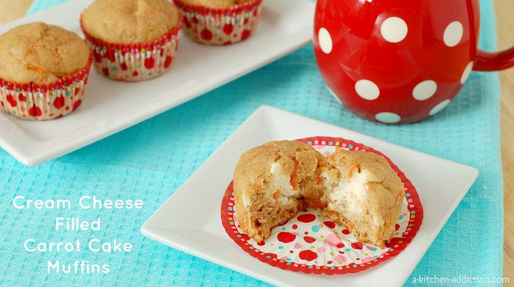 Cream Cheese Filled Carrot Cake Muffins Recipe l www.a-kitchen-addiction.com