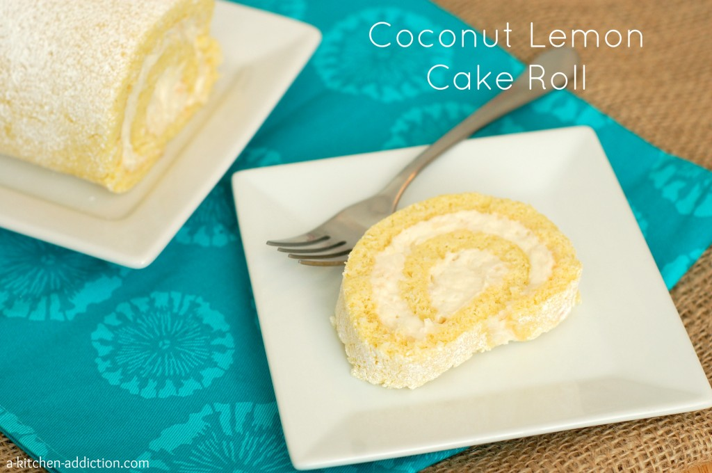 Coconut Lemon Cake Roll Recipe l www.a-kitchen-addiction.com