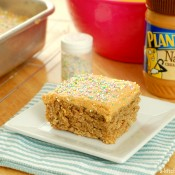 Banana Snack Cake with Peanut Butter Frosting Recipe l www.a-kitchen-addiction.com