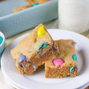Peanut Butter M&M Cookie Bars {Whole Wheat}