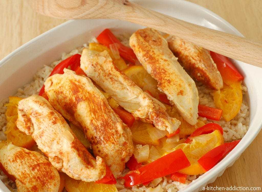 Sweet and Spicy Chicken Over Rice l www.a-kitchen-addiction.com