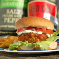 Chili Lime Feta Burger with Creamy Cilantro Lime Sauce Recipe l www.a-kitchen-addiction.com