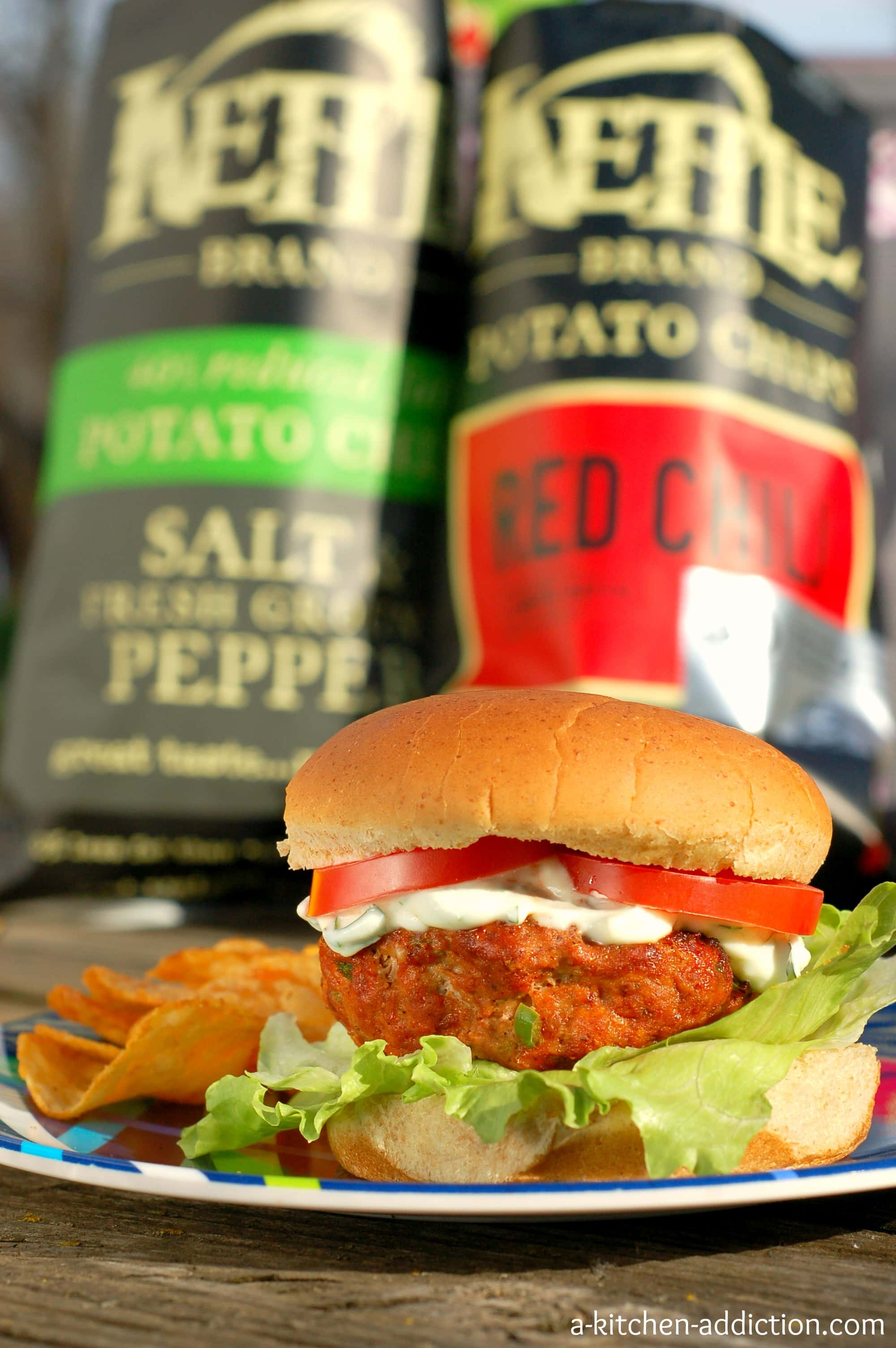 Chili lime feta burgers with cilantro lime sauce giveaway for A kitchen addiction