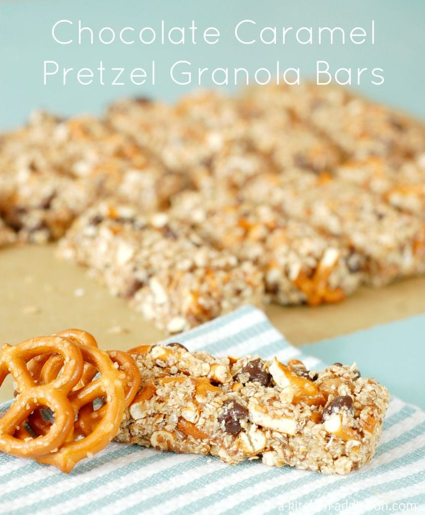 No Bake Chocolate Caramel Pretzel Granola Bars Recipe l www.a-kitchen-addiction.com