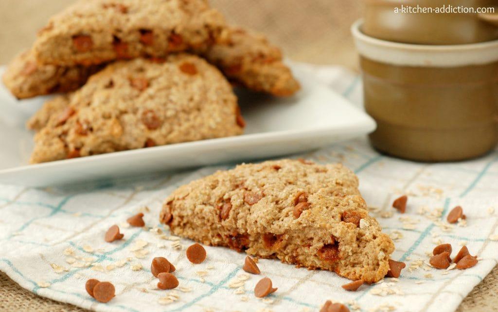 Cinnamon Chip Oatmeal Scones Recipe l www.a-kitchen-addiction.com
