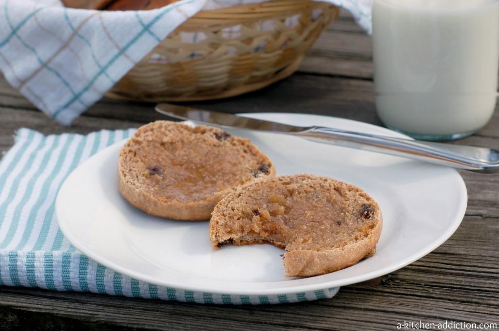 Cinnamon Raisin Honey Whole Wheat English Muffins Recipe l www.a-kitchen-addiction.com