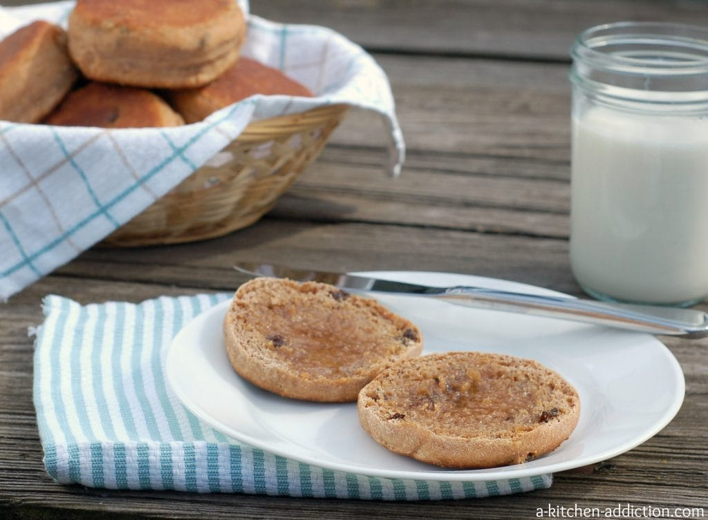 Cinnamon Raisin Honey Whole Wheat English Muffins Recipe l www.a-kitchen-addiction.com