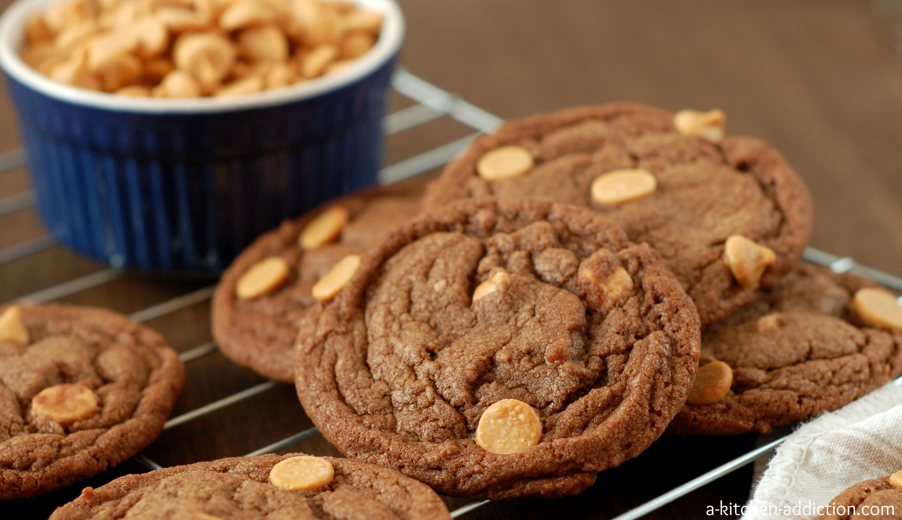 these chewy nutella peanut butter chip cookies are crispy on