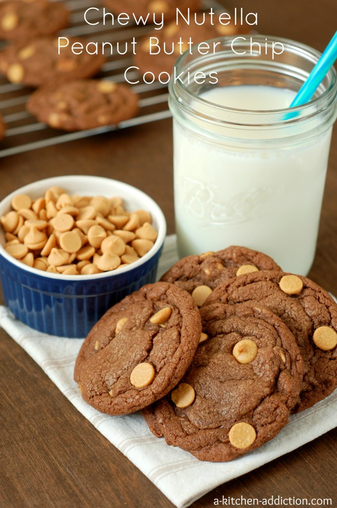 Chewy Nutella Peanut Butter Chip Cookies Recipe l www.a-kitchen-addiction.com