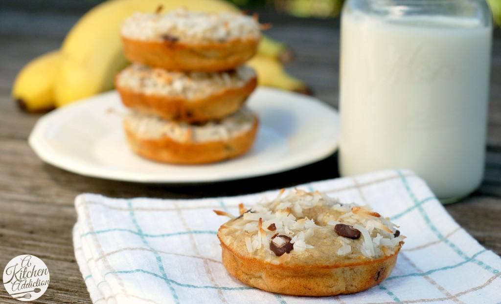 Chocolate Chip Coconut Banana Bread Donuts Recipe l www.a-kitchen-addiction.com