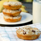 Chocolate Chip Coconut Banana Bread Donuts Recipe l www.a-kitchen-addiction.com
