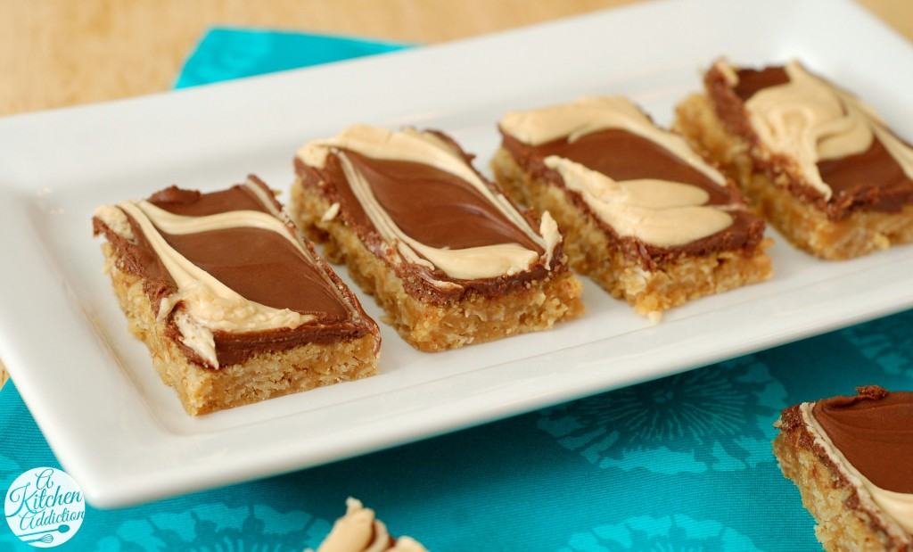Chocolate Frosted Peanut Butter Oat Bars from www.a-kitchen-addiction ...