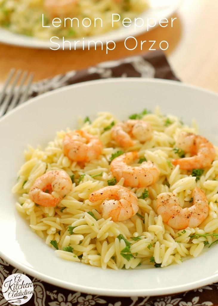 Lemon Pepper Shrimp Orzo Recipe l www.a-kitchen-addiction.com