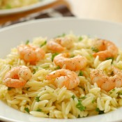 Lemon Pepper Shrimp with Lemon Orzo Recipe l www.a-kitchen-addiction.com