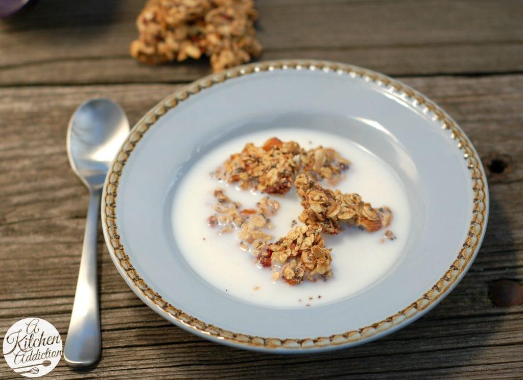 Strawberry Chia Granola Clusters Recipe l www.a-kitchen-addiction.com
