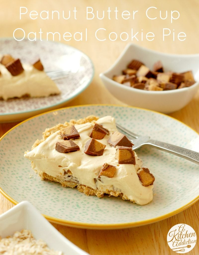 Peanut Butter Cup Oatmeal Cookie Pie Recipe l www.a-kitchen-addiction.com