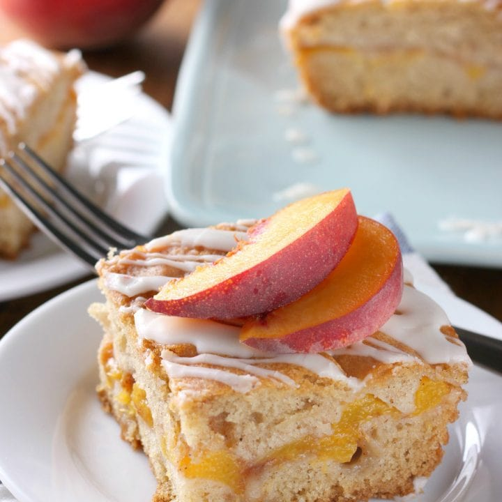 Easy Peaches and Cream Cake Recipe from A Kitchen Addiction