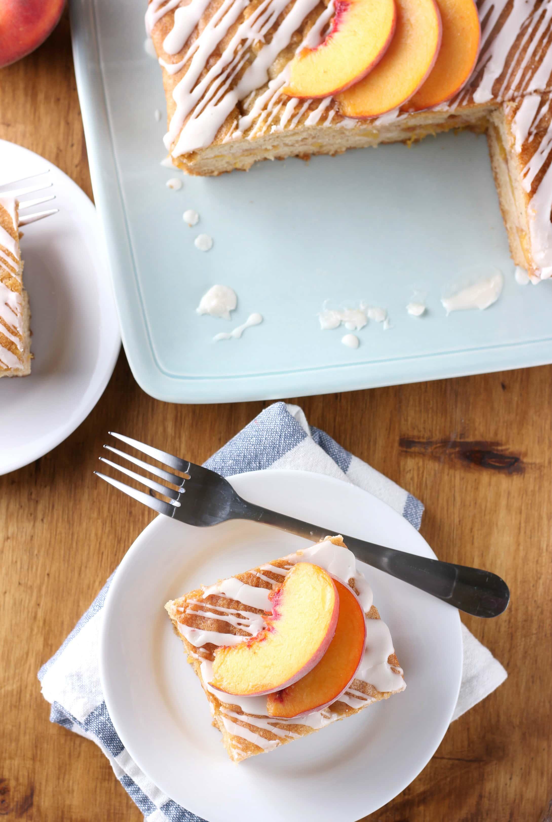 Peaches and Cream Cake Recipe from A Kitchen Addiction