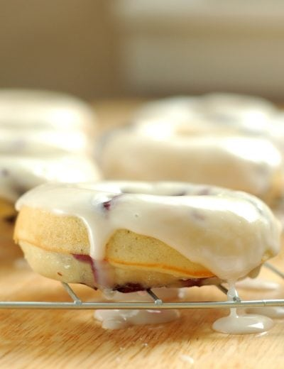 Lemon Glazed Blueberry Donuts Recipe l www.a-kitchen-addiction.com