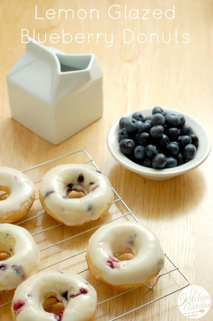 Lemon Glazed Blueberry Donuts Recipe l www.a-kitchen-addiction.com