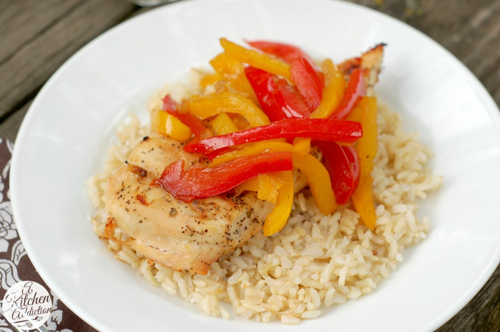 Grilled Chicken with Balsamic Bell Peppers Recipes l www.a-kitchen-addiction.com