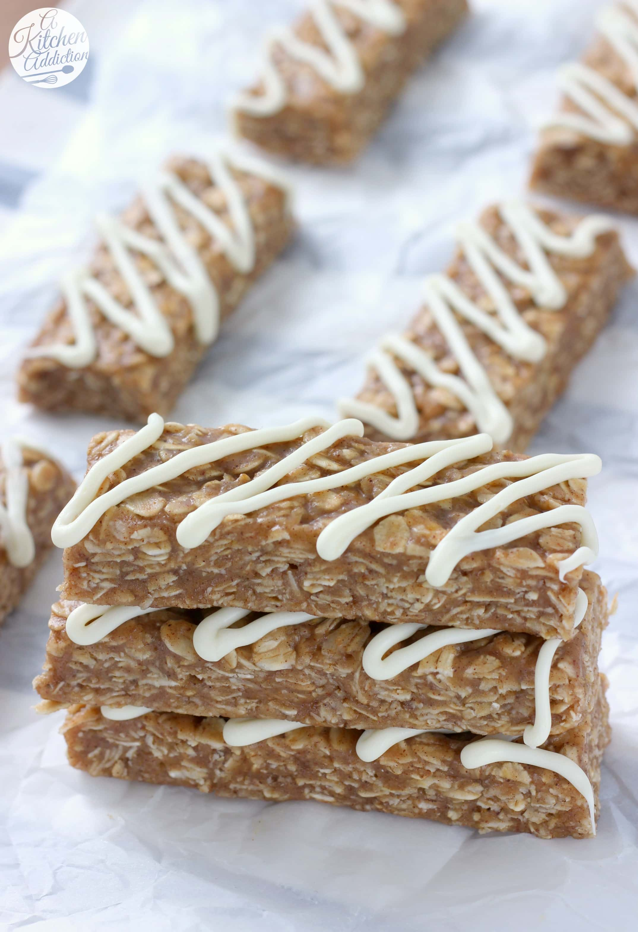 Quick and Easy Snickerdoodle Granola Bars Recipe from A Kitchen Addiction