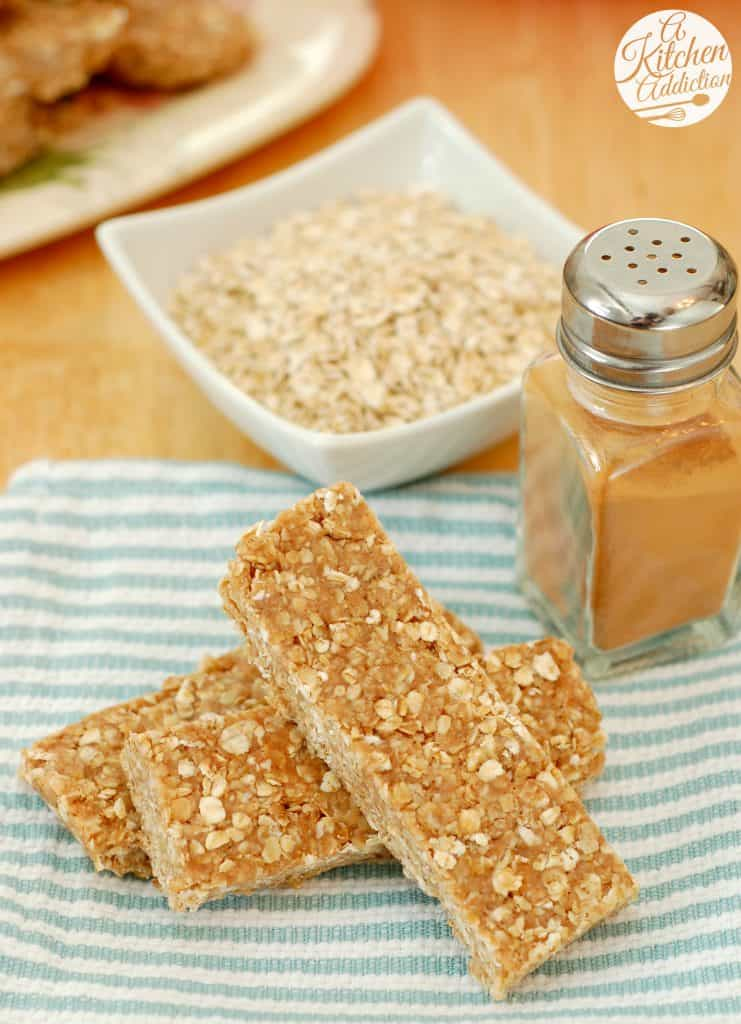No Bake Snickerdoodle Granola Bars Recipe l www.a-kitchen-addiction.com