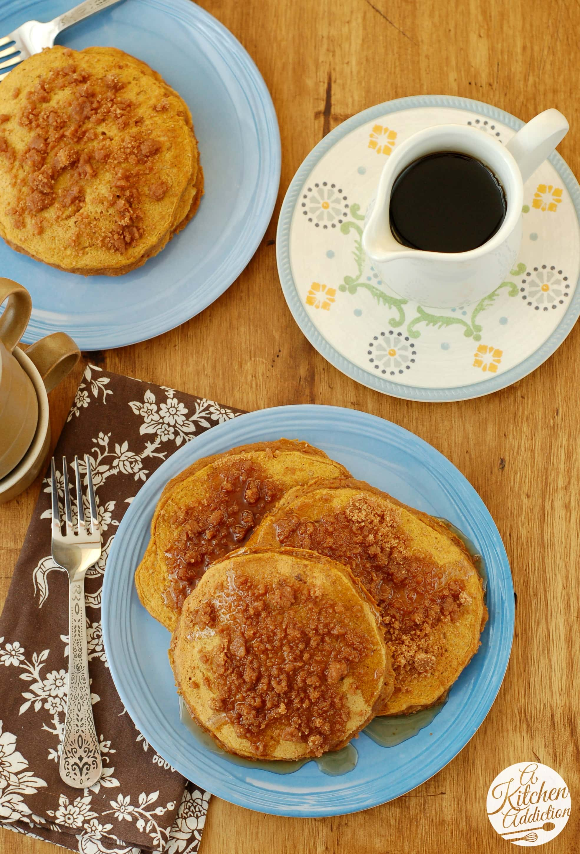 Cinnamon Streusel Pumpkin Pancakes Recipe l www.a-kitchen-addiction ...
