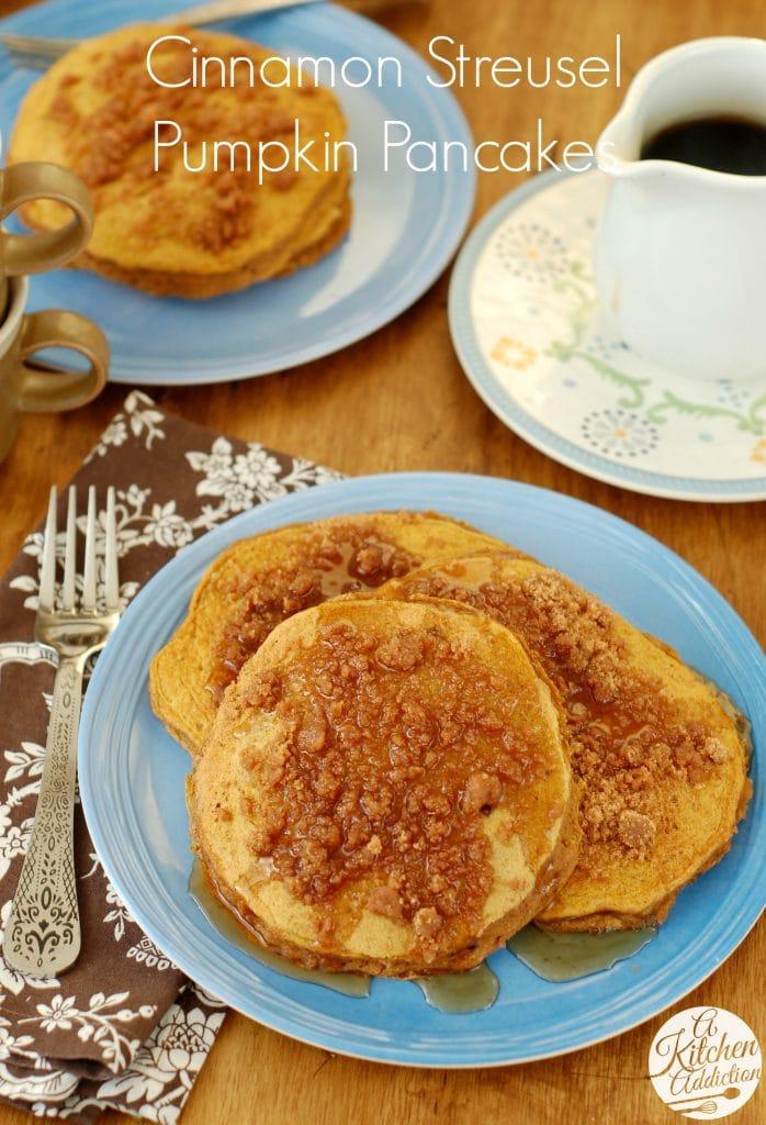 Cinnamon Streusel Pumpkin Pancakes Recipe l www.a-kitchen-addiction.com