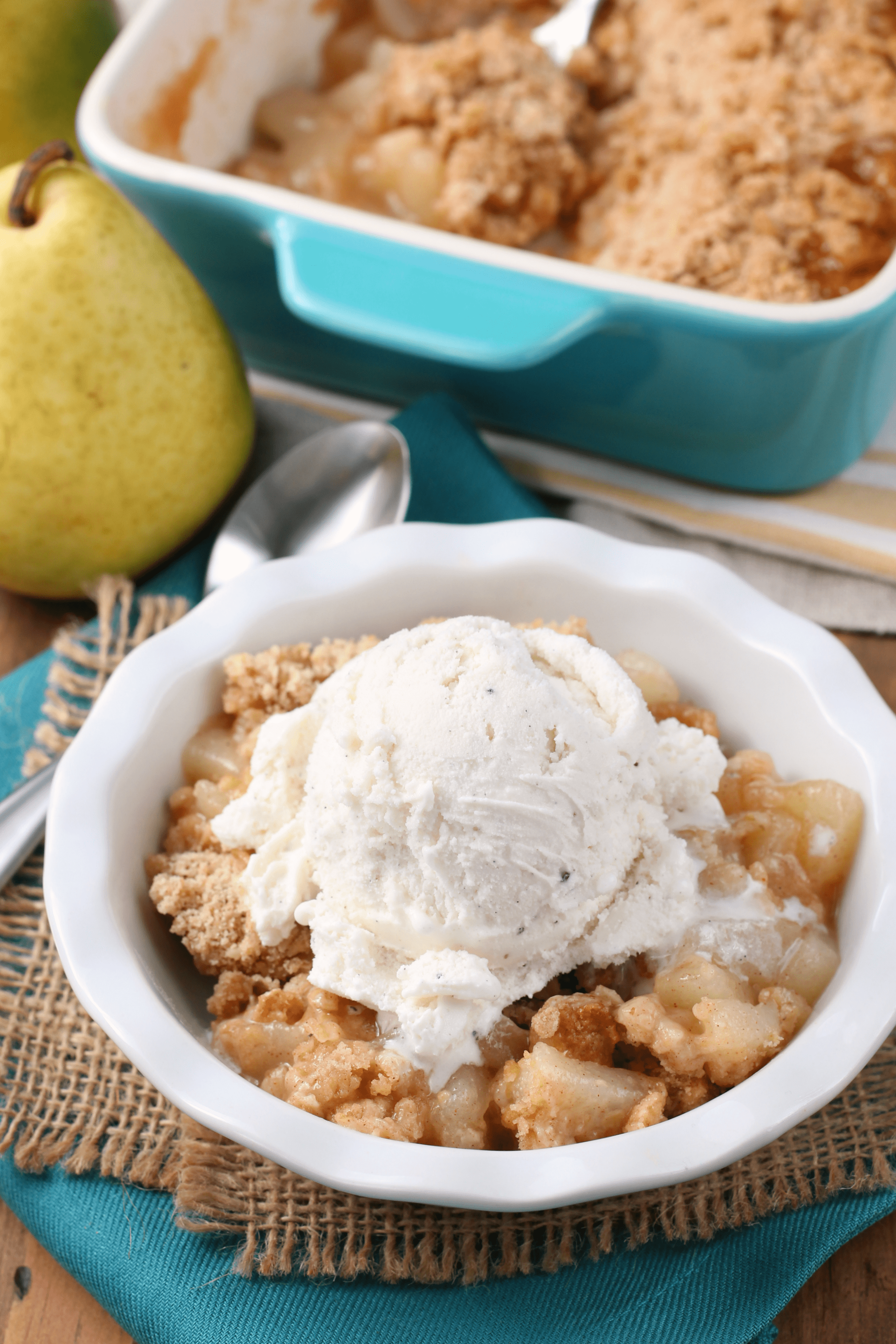 Honey Pear Crisp Recipe from A Kitchen Addiction