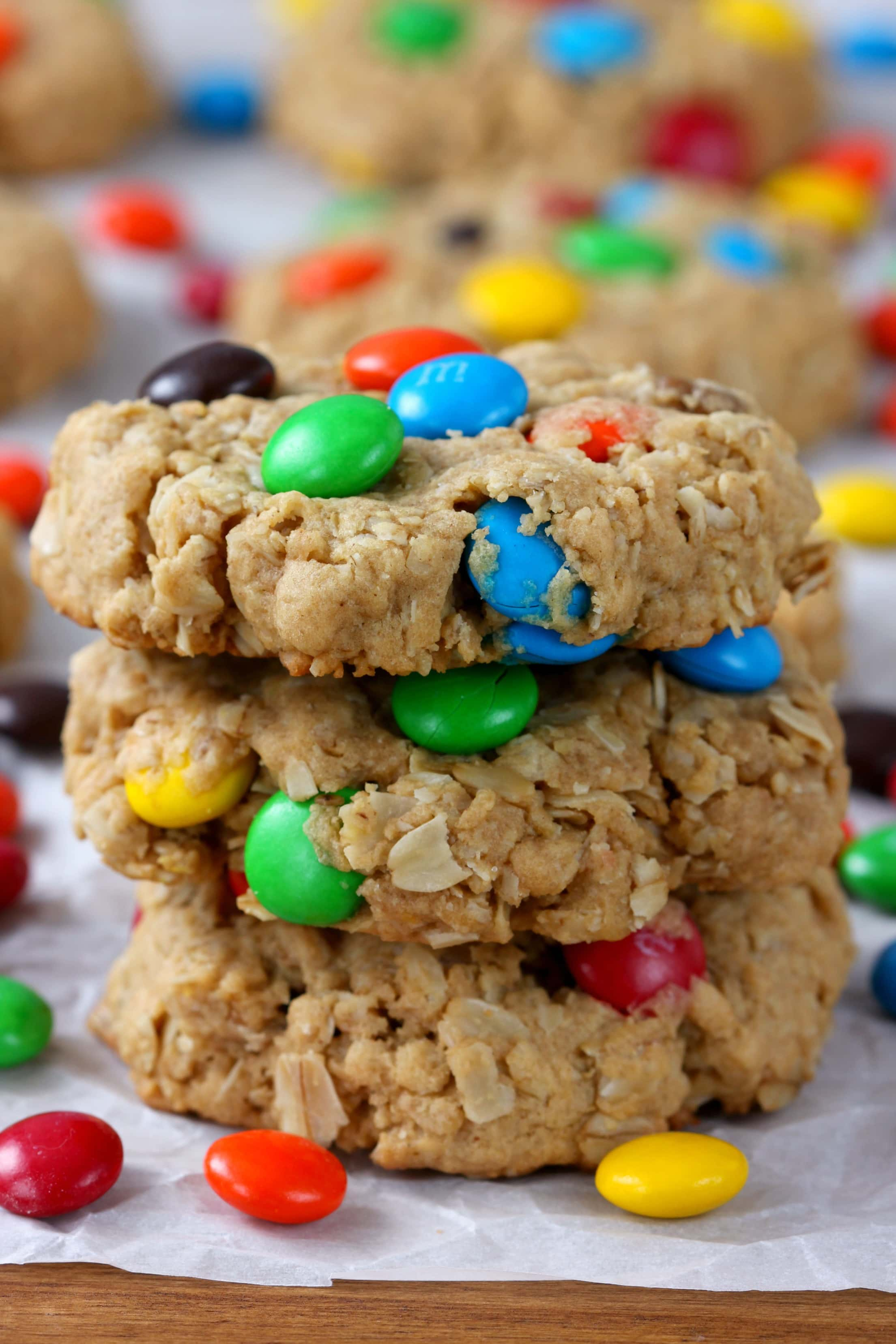 Easy M+M Peanut Butter Oatmeal Cookies Recipe from A Kitchen Addiction