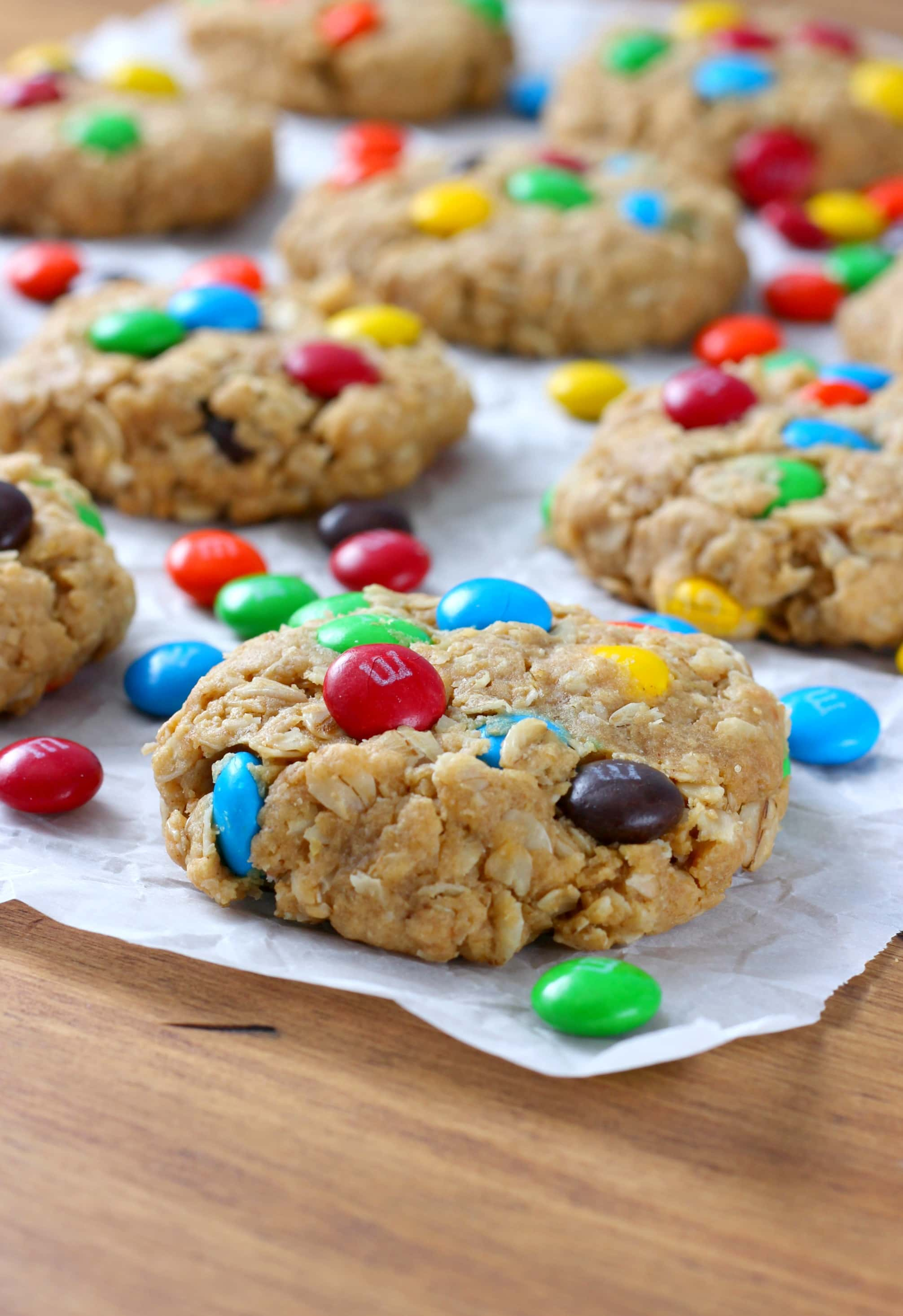 M+M Peanut Butter Oatmeal Cookies Recipe from A Kitchen Addiction