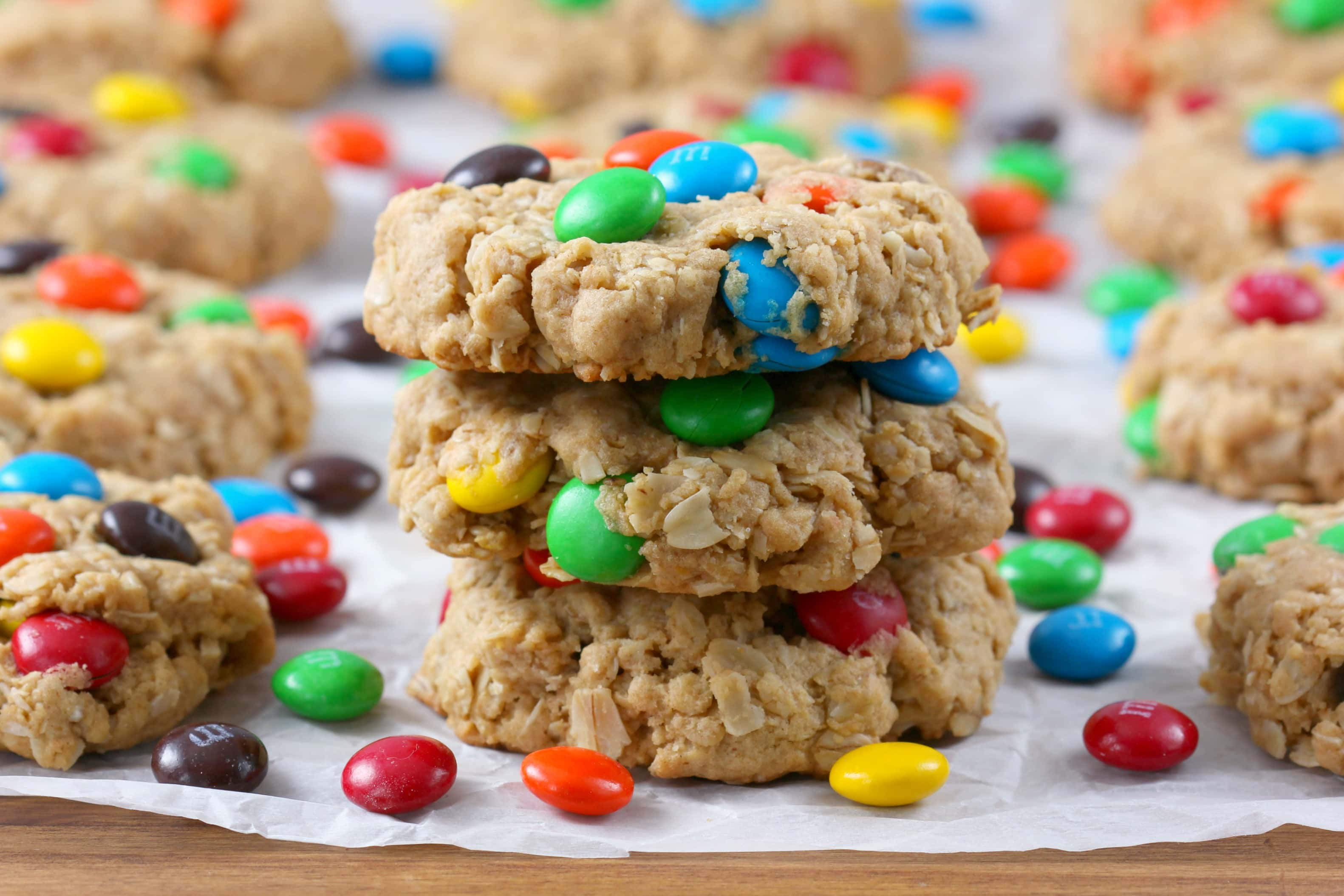 Super Easy M+M Peanut Butter Oatmeal Cookies Recipe from A Kitchen Addiction