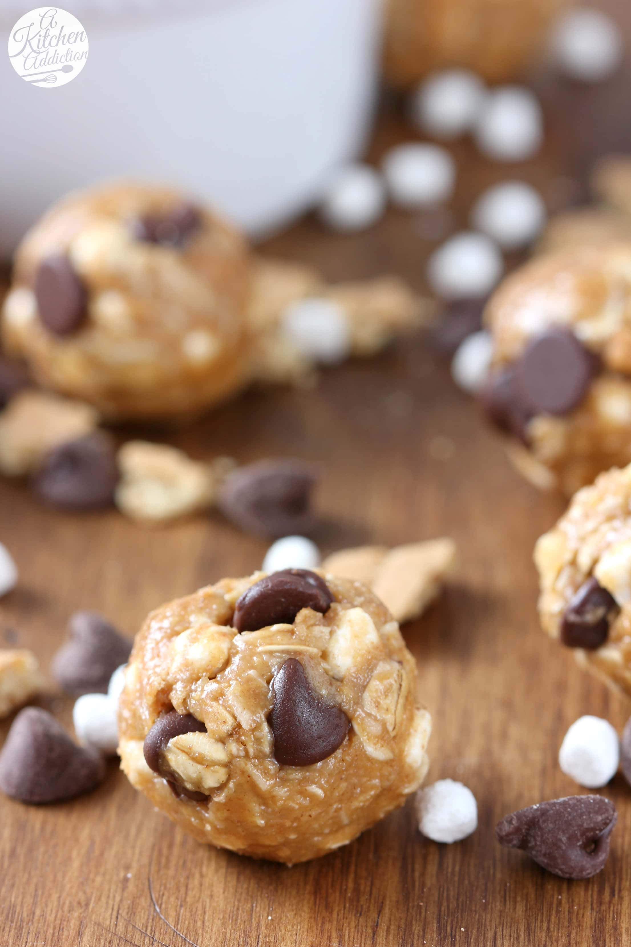 No Bake Peanut Butter Smores Granola Bites Recipe from A Kitchen Addiction