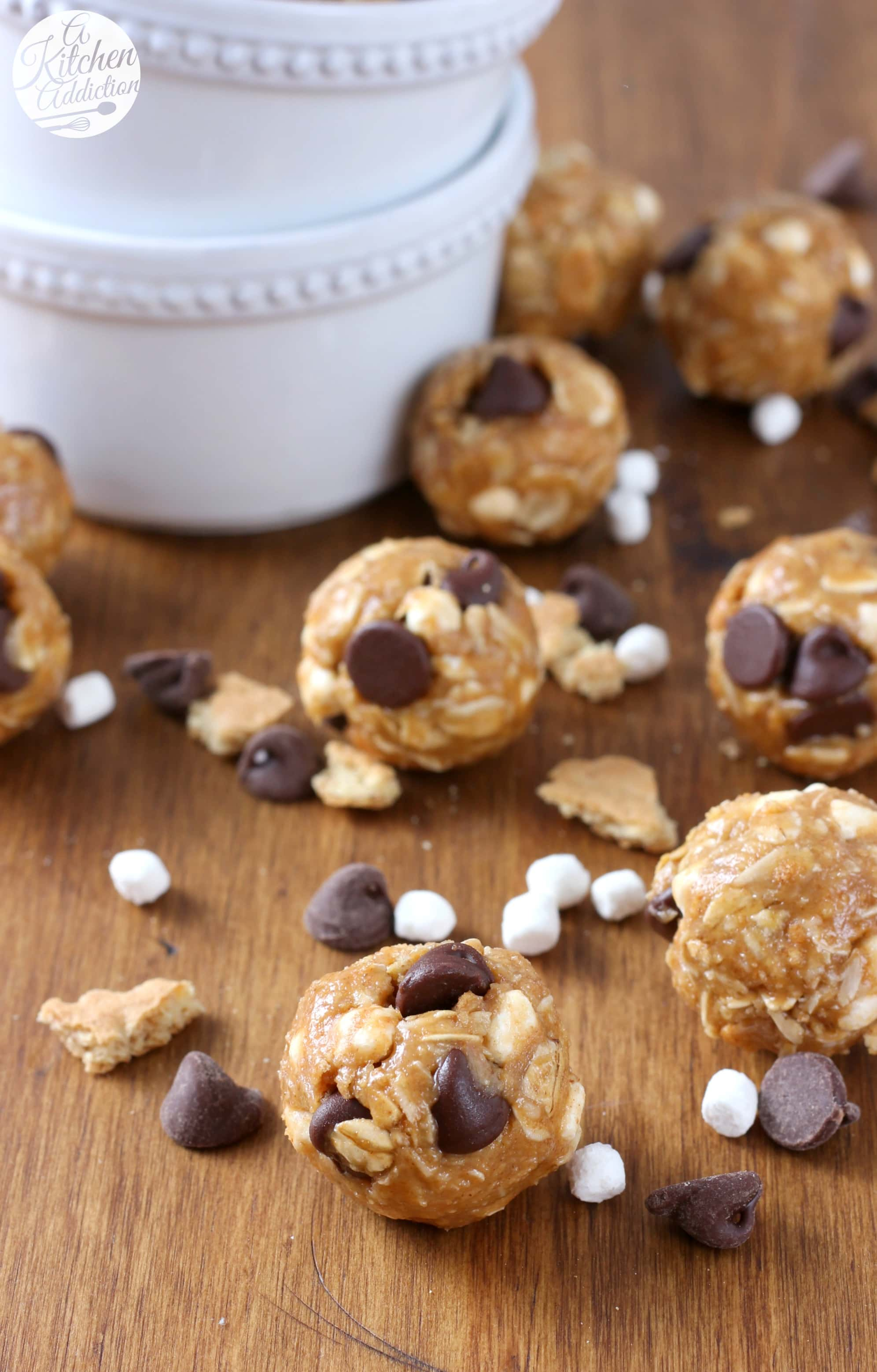 Peanut Butter Smores Granola Bites Recipe from A Kitchen Addiction