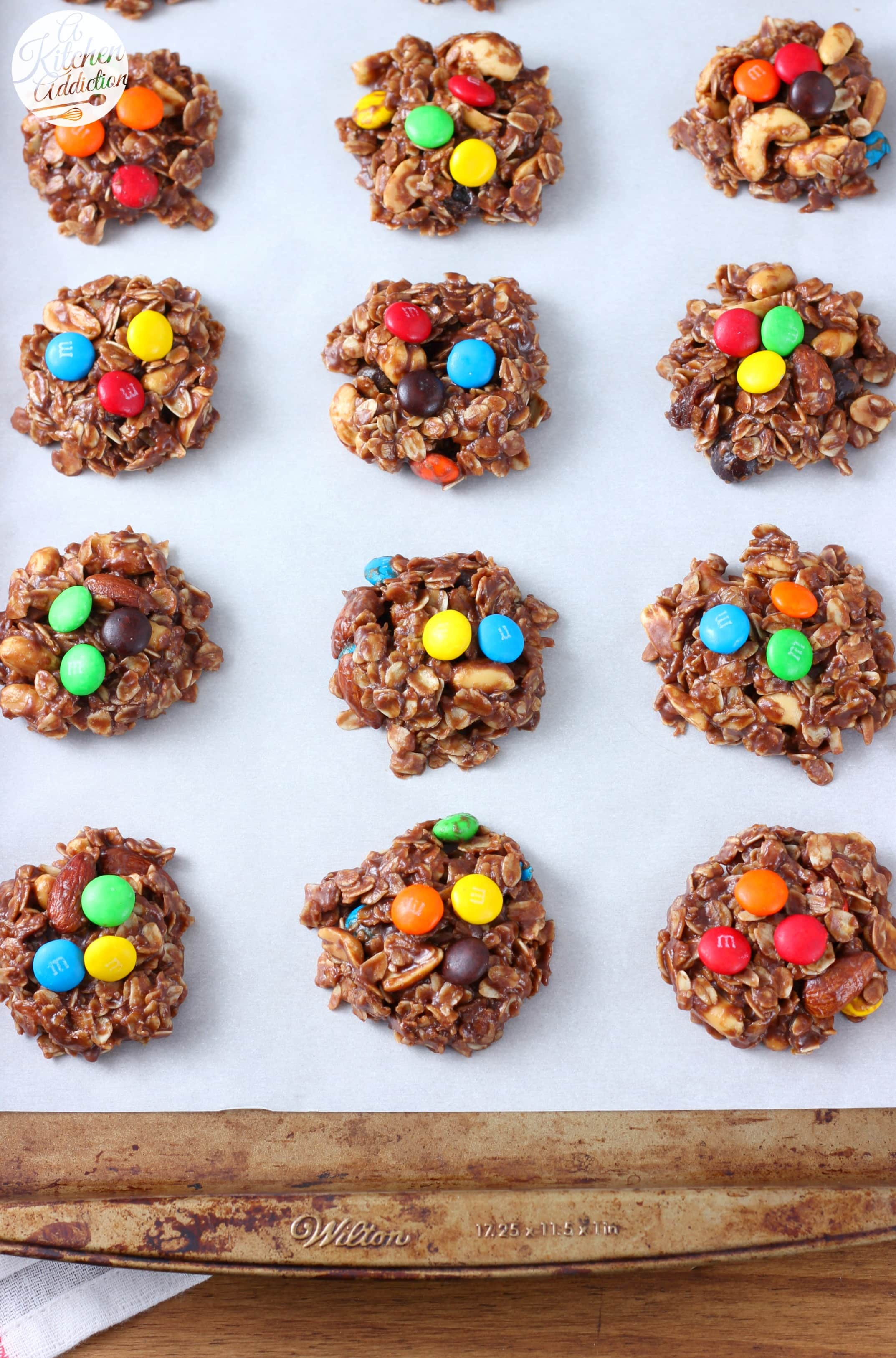 Quick and Easy Trail Mix No Bake Cookies Recipe from A Kitchen Addiction