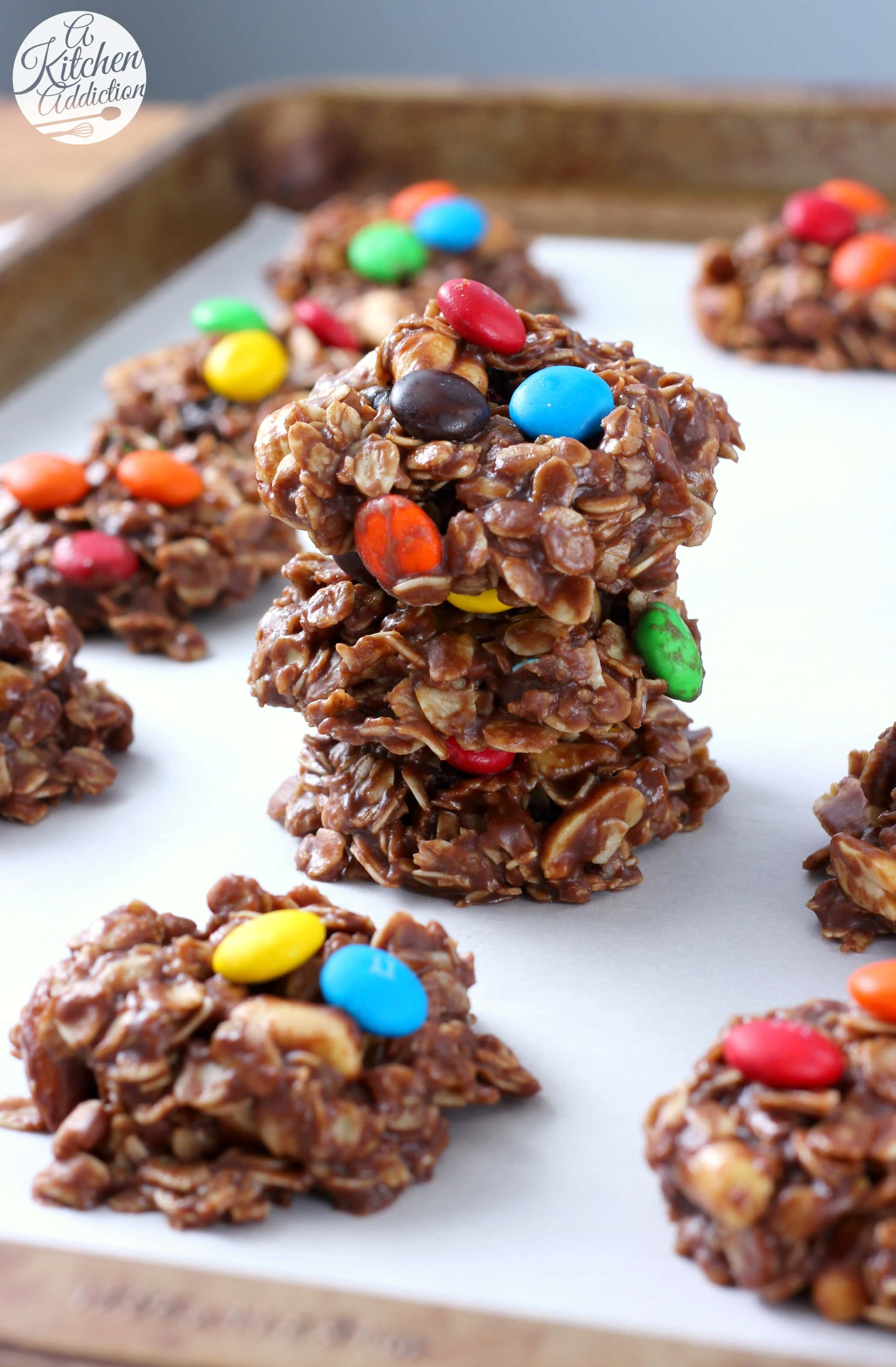 Easy Trail Mix No Bake Cookies Recipe from A Kitchen Addiction