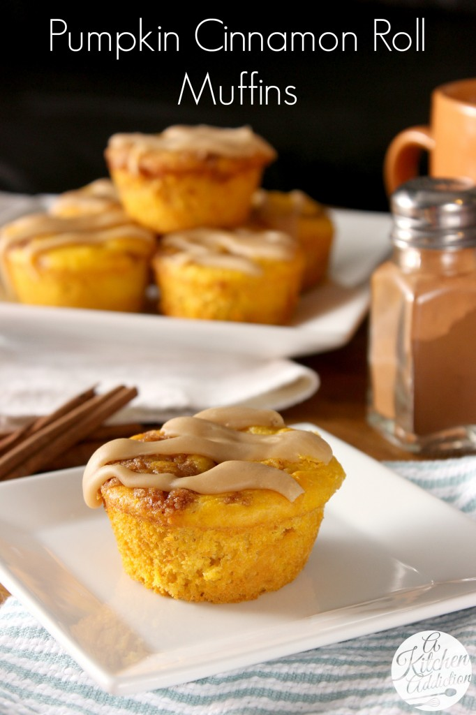 Caramel Glazed Pumpkin Cinnamon Roll Muffins Recipe l www.a-kitchen-addiction.com