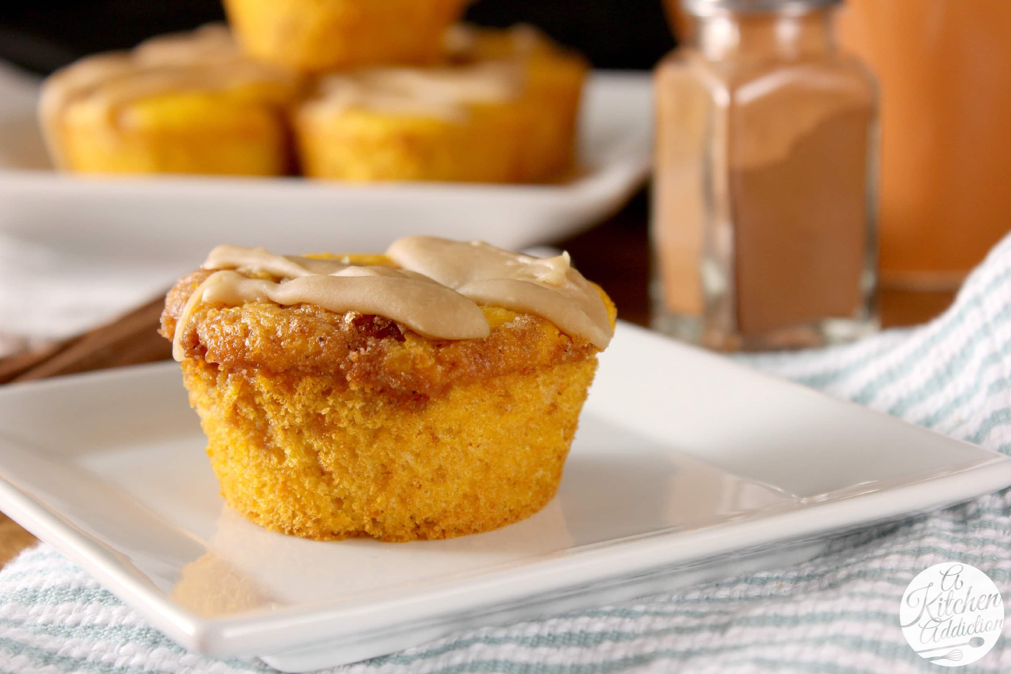 Caramel Glazed Pumpkin Cinnamon Roll Muffins l www.a-kitchen-addiction ...