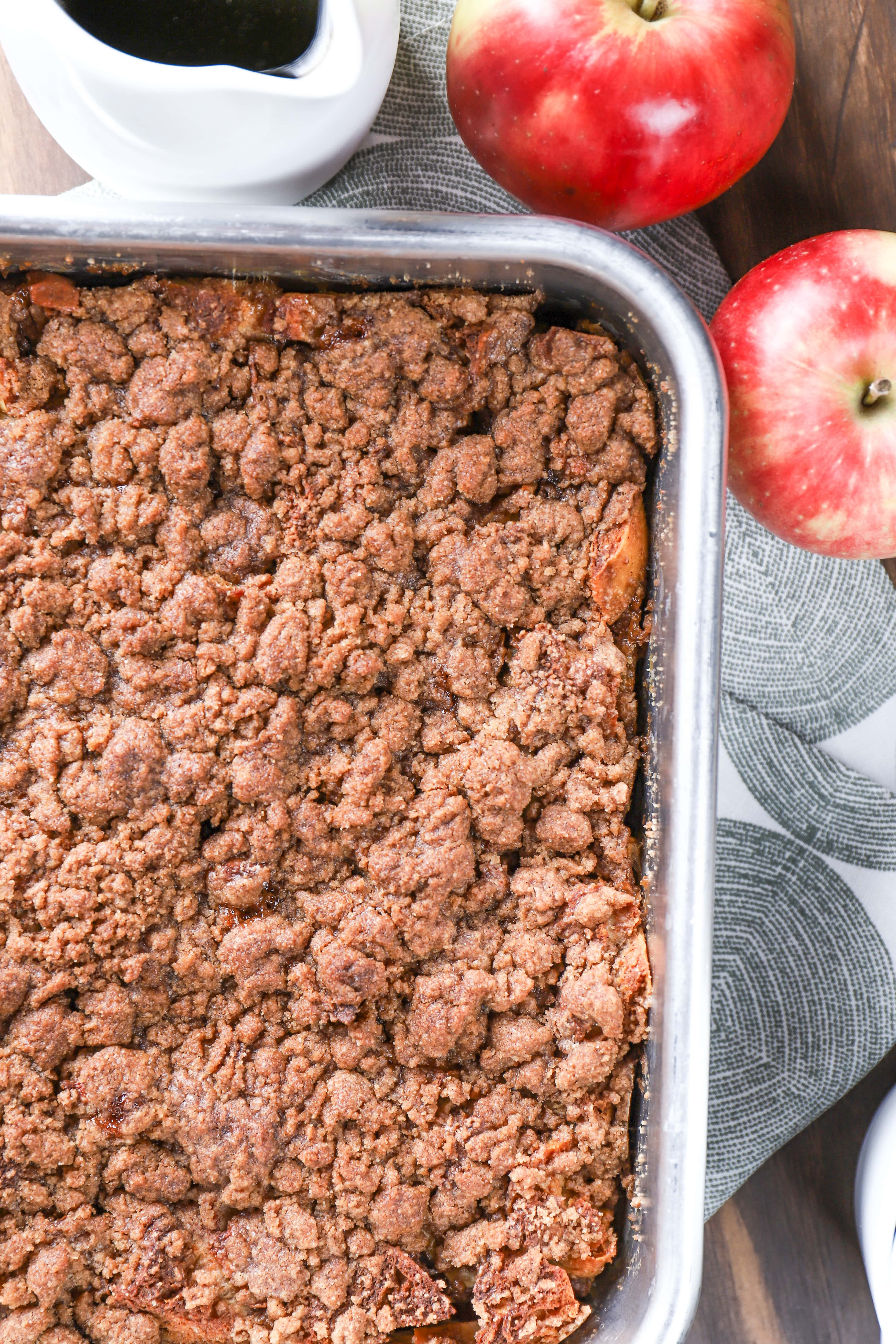 Pan of Apple Streusel French Toast Bake