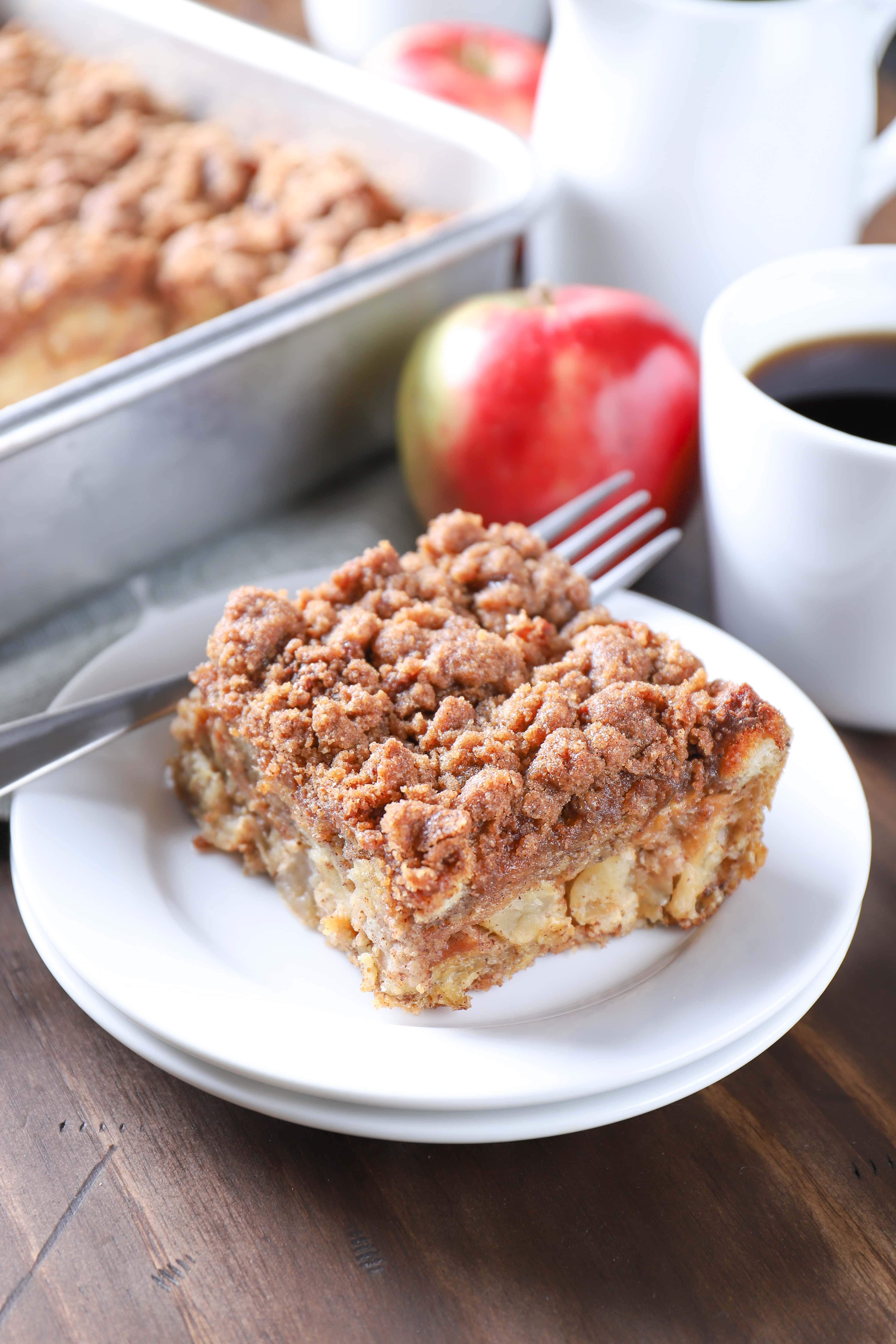 Slice of Apple Streusel French Toast Bake on a plate without syrup. Recipe from A Kitchen Addiction