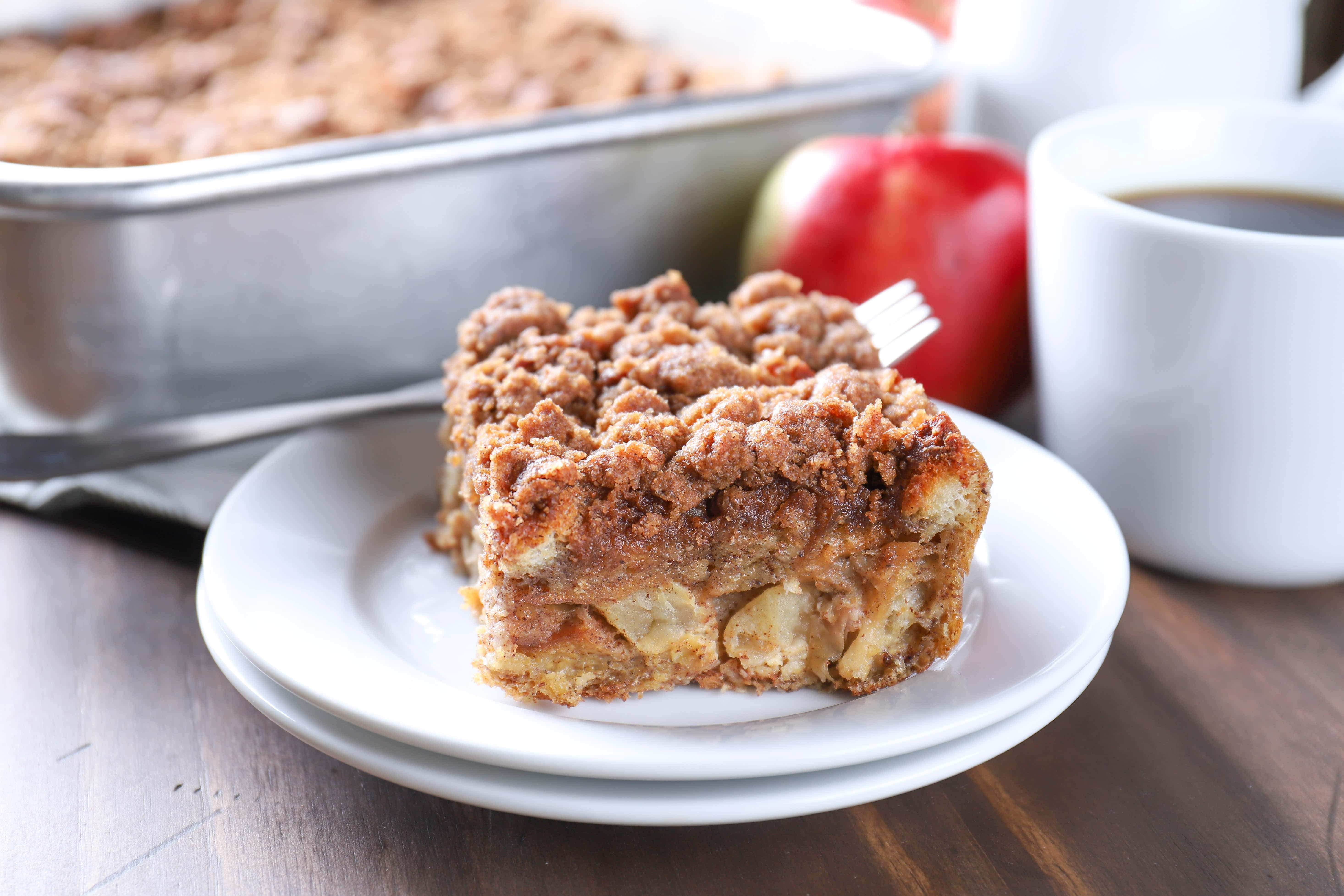 Piece of Apple Streusel French Toast Bake. Recipe from A Kitchen Addiction