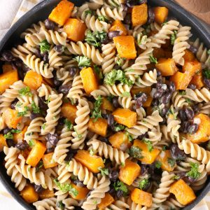 Butternut Black Bean Pasta Skillet Recipe from A Kitchen Addiction