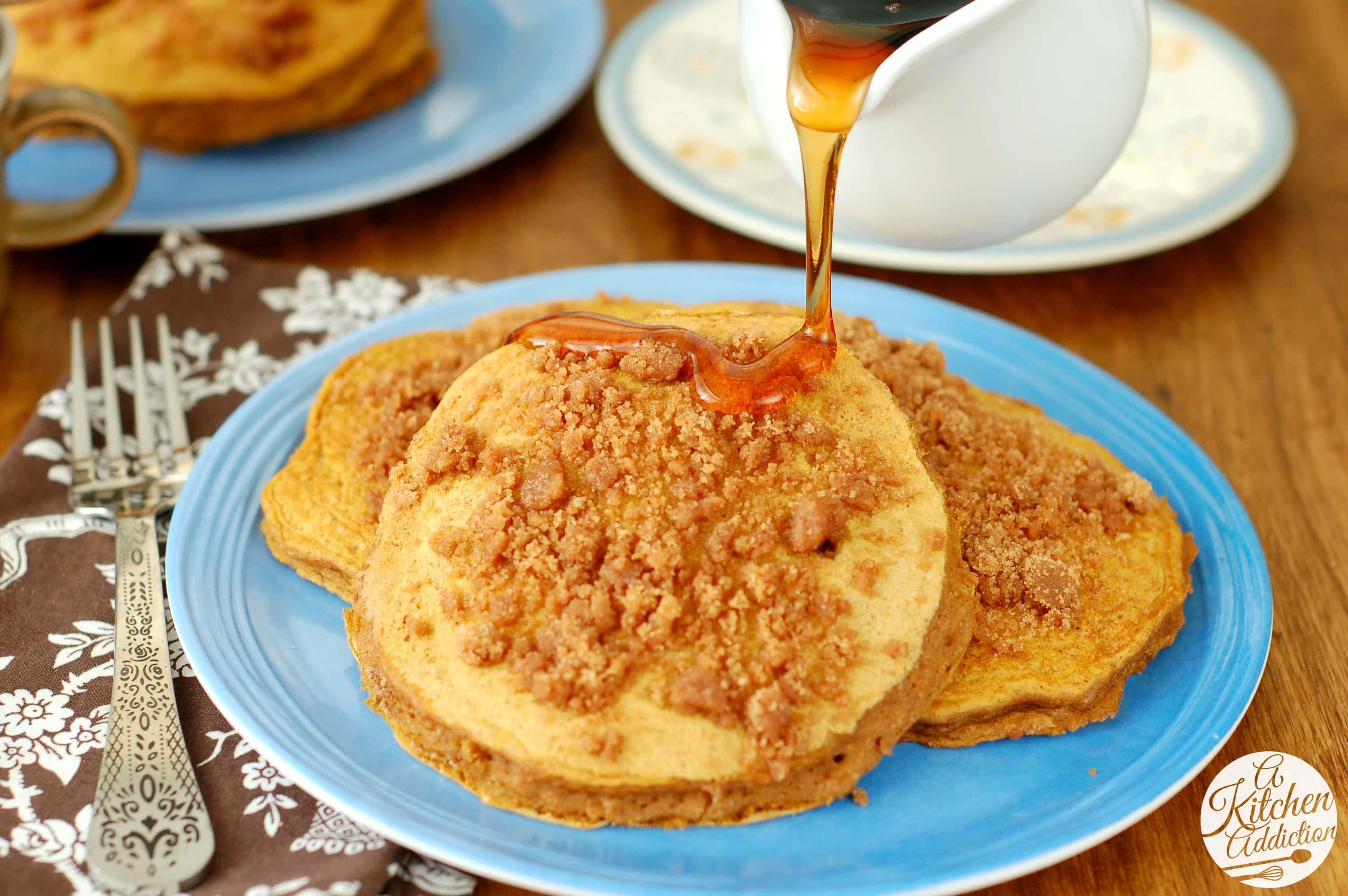 Cinnamon Streusel Pumpkin Pancakes Recipe l www.a-kitchen-addiction ...
