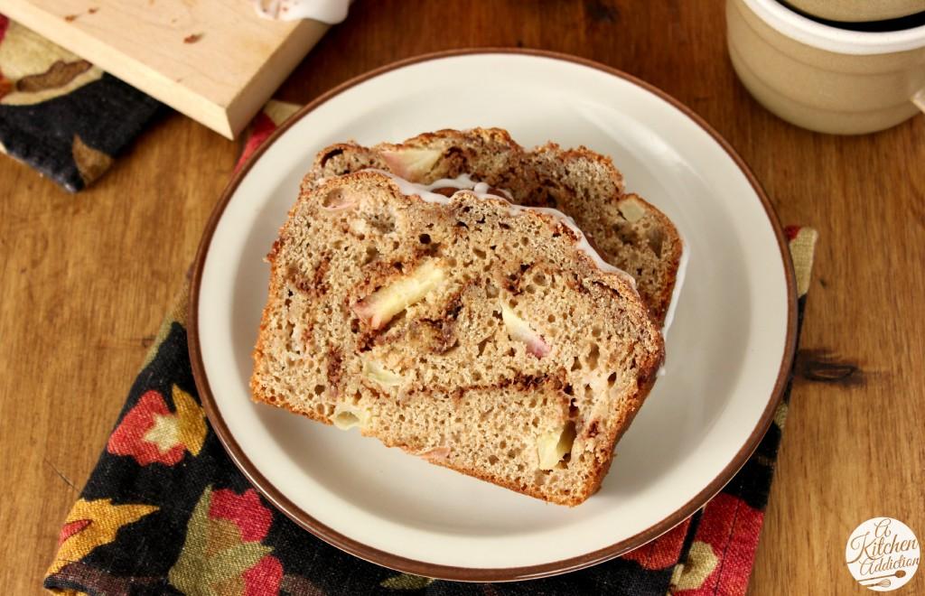 Whole Wheat Cinnamon Swirl Apple Bread l www.a-kitchen-addiction.com