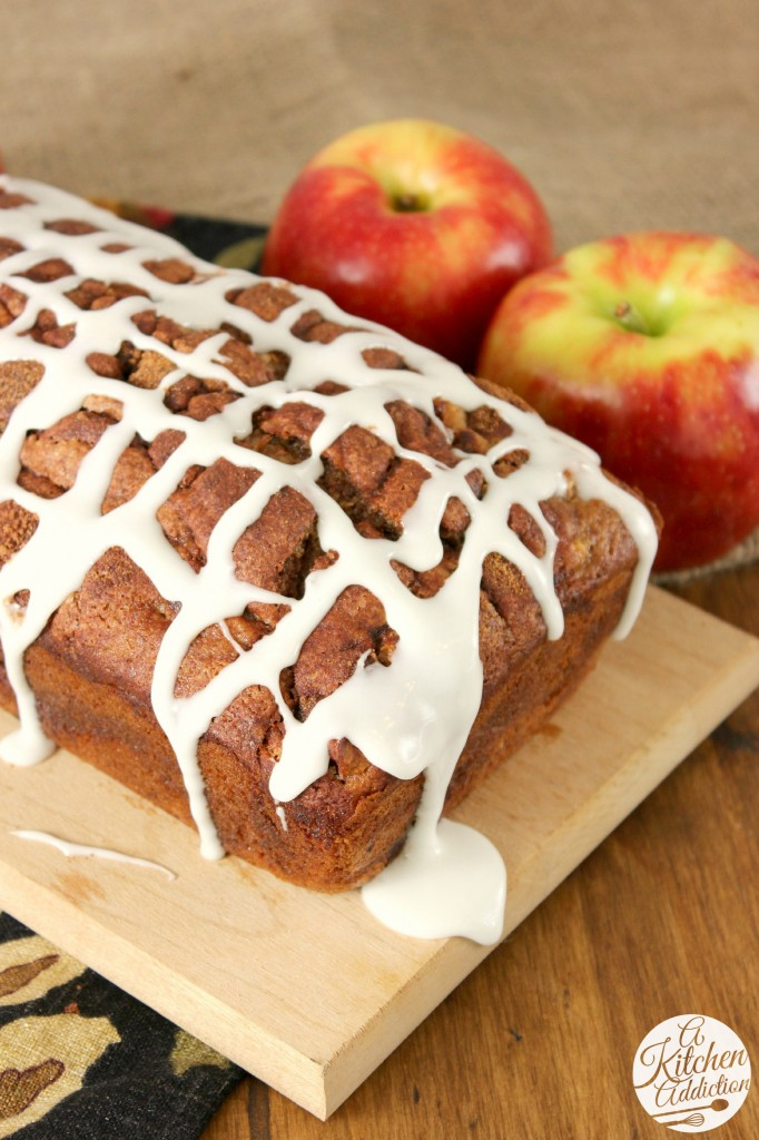 Whole Wheat Cinnamon Swirl Apple Bread l www.a-kitchen-addiction.com