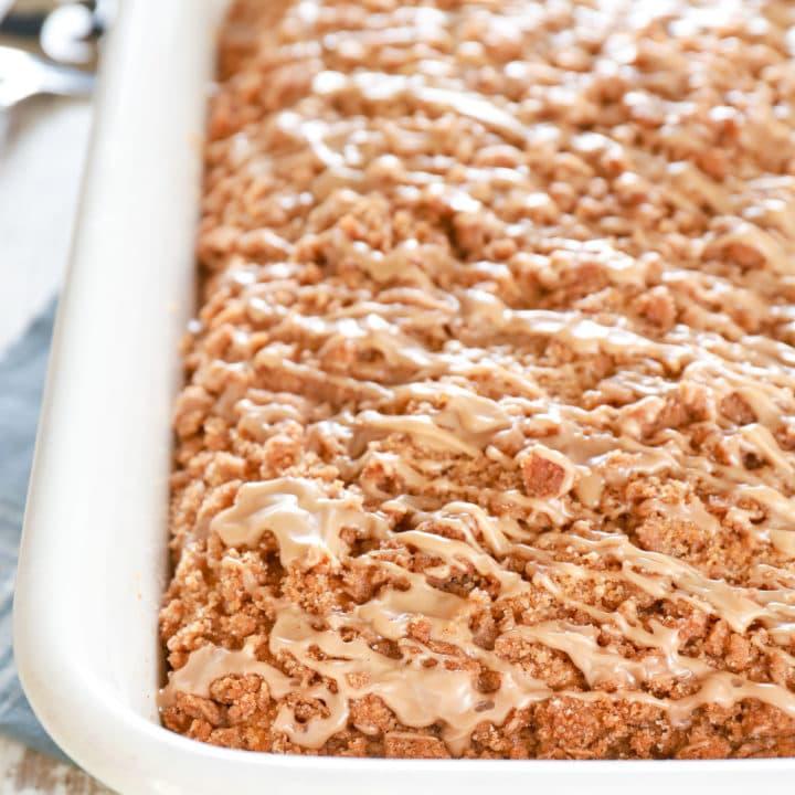 Pan of maple cinnamon pumpkin coffee cake. Recipe from A Kitchen Addiction
