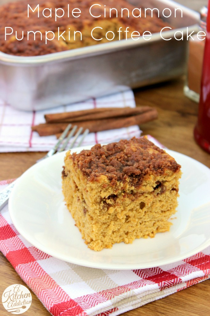 Maple-Cinnamon Pumpkin Coffee Cake Recipe l www.a-kitchen-addiction ...