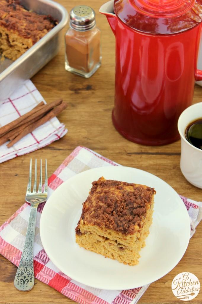Maple-Cinnamon Pumpkin Coffee Cake Recipe l www.a-kitchen-addiction.com
